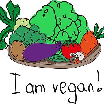I am vegan. Conceptual handwritten phrase. Hand lettered calligraphic design. by dasha122007