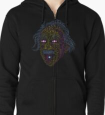 Acid Scientist tongue out psychedelic art poster Zipped Hoodie