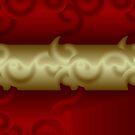 Gold Scroll on Wine by Kinnally