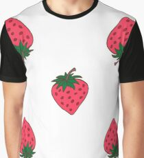 Seamless background with pink strawberries. Cute vector strawberry pattern. Summer fruit illustration on mint polka dots background. Graphic T-Shirt