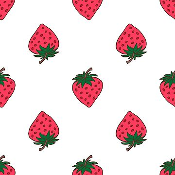 Seamless background with pink strawberries. Cute vector strawberry pattern. Summer fruit illustration on mint polka dots background. by dasha122007