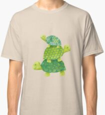 Cute Turtle Stack in Teal, Lime Green and Turquoise Classic T-Shirt