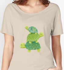 Cute Turtle Stack in Teal, Lime Green and Turquoise Women's Relaxed Fit T-Shirt