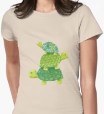 Cute Turtle Stack in Teal, Lime Green and Turquoise T-Shirt