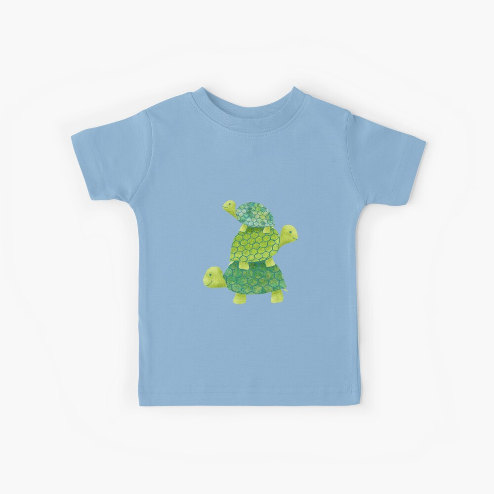 Cute Turtle Stack in Teal, Lime Green and Turquoise Kids T-Shirt