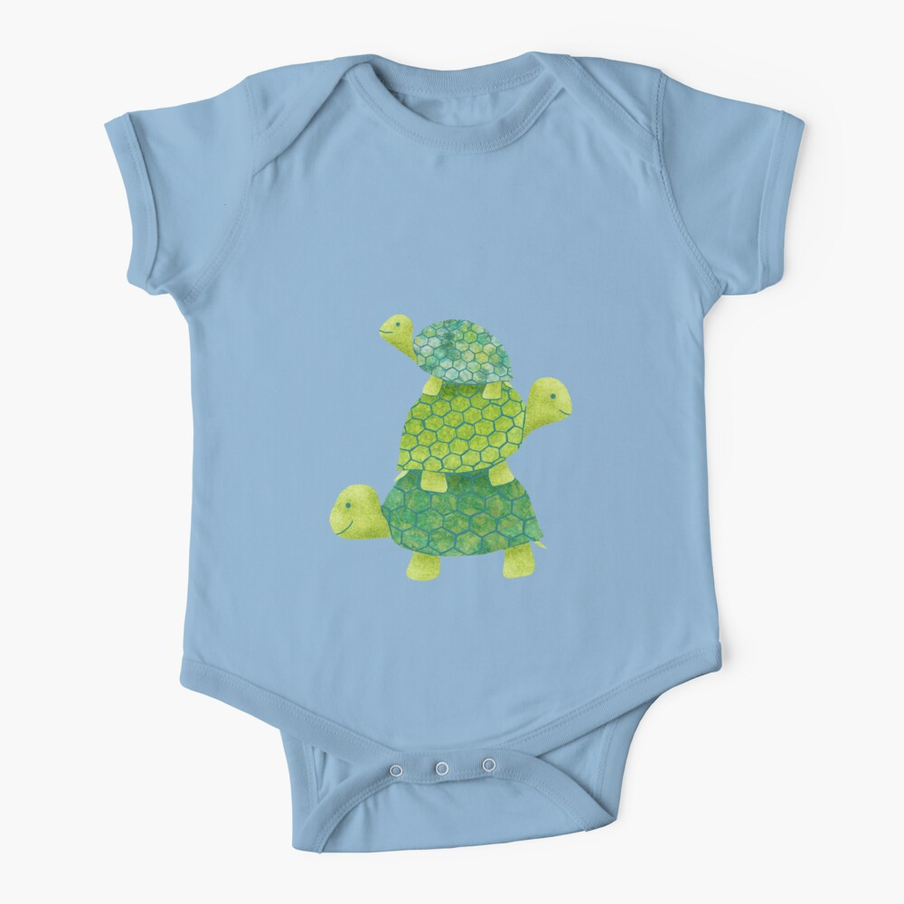 Cute Turtle Stack in Teal, Lime Green and Turquoise Baby One-Piece