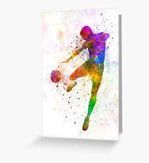 man soccer football player flying kicking Greeting Card
