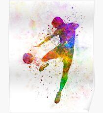 man soccer football player flying kicking Poster