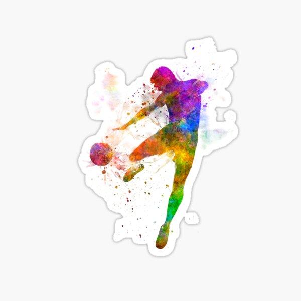 man soccer football player flying kicking Sticker