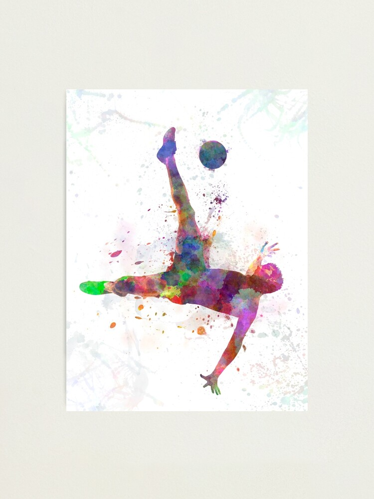 Alternate view of man soccer football player flying kicking Photographic Print