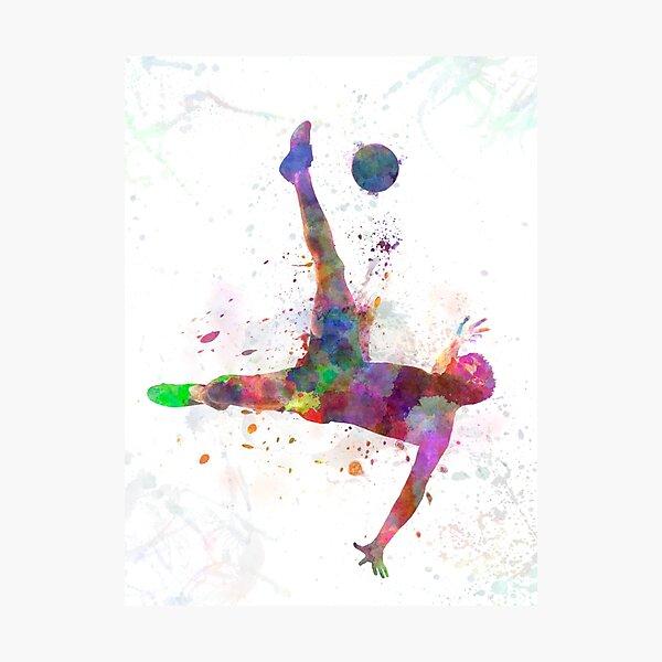 man soccer football player flying kicking Photographic Print