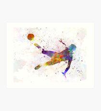 man soccer football player flying kicking Art Print