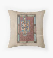 Decorated Incipit Page - Beginning of Mark's Gospel (1120 - 1140 AD) Throw Pillow