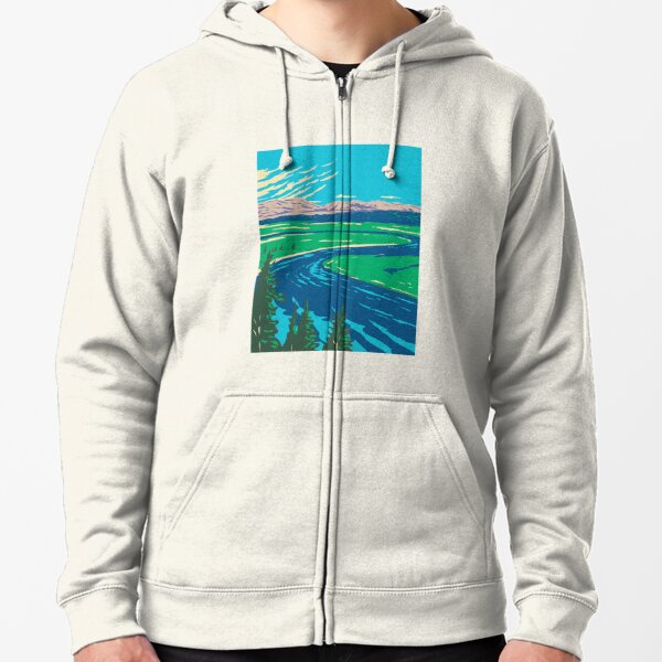 Yellowstone River In Yellowstone National Park Zipped Hoodie