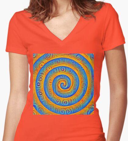#DeepDreamed Swirl Women's Fitted V-Neck T-Shirt