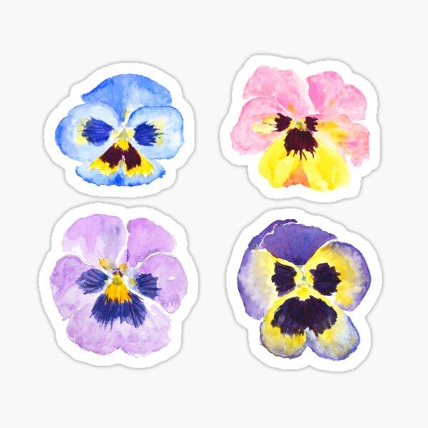 4 little pansies Sticker