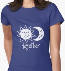Together cute sun and moon Womens Fitted T-Shirt