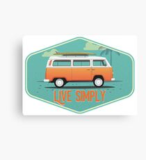 Live Simply - Beach Van Sticker Canvas Print