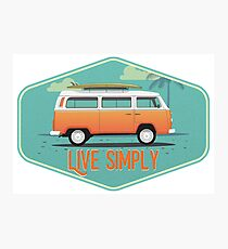 Live Simply - Beach Van Sticker Photographic Print
