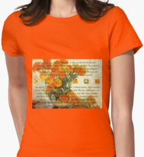 October's Child Birthday Greeting with Marigolds Women's Fitted T-Shirt