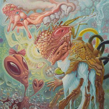 Mr. Crazy Bones Encounters Ms. Alien Head by elftantra