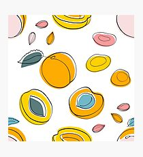 Seamless pattern Apricot jam and dried apricots Photographic Print
