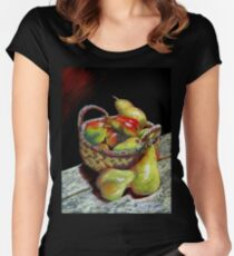 Apples and pears Pastel Painting Women's Fitted Scoop T-Shirt