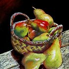 Apples and pears Pastel Painting by sandysartstudio
