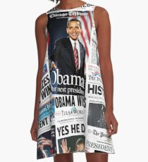 Obama 2008 Commemorative Front Pages A-Line Dress