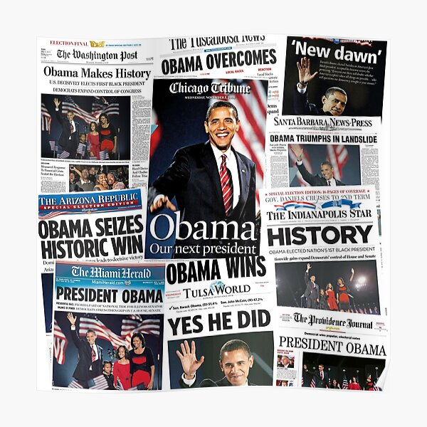 Obama 2008 Commemorative Front Pages Poster