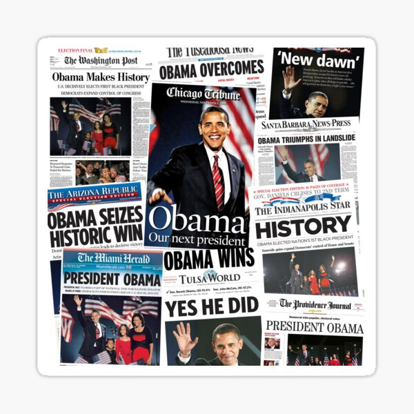 Obama 2008 Commemorative Front Pages Sticker