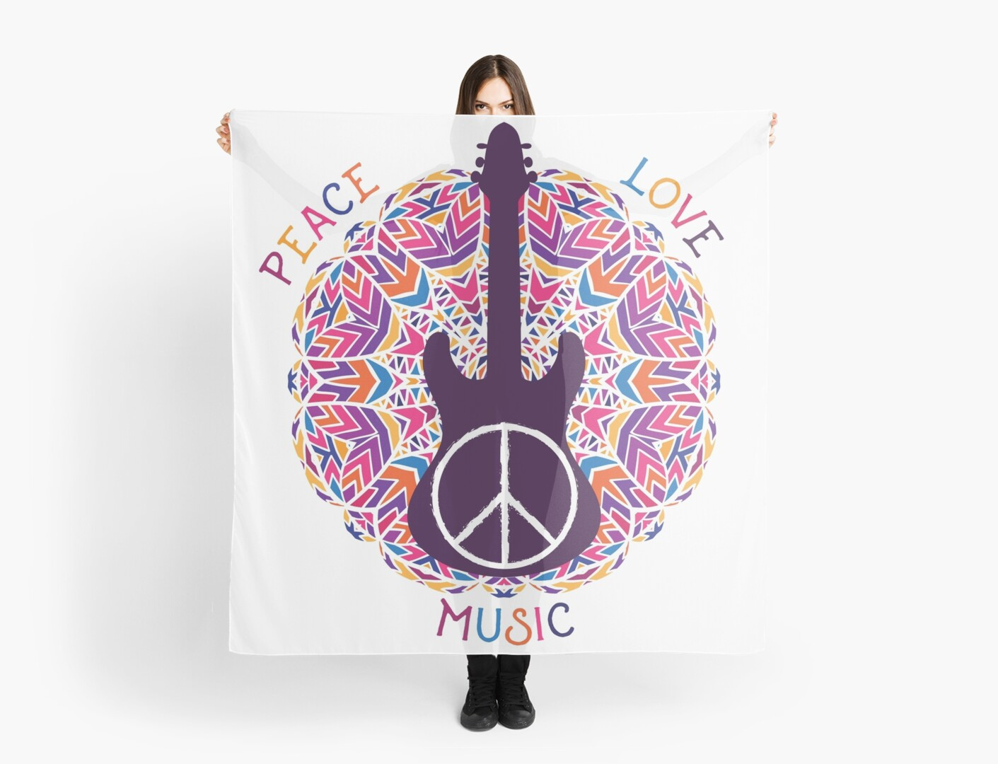 """Hippie Peace Symbol. Peace, Love, Music Sign And Guitar"