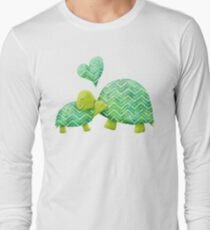 Sweet Turtle Hugs with Heart in Teal, Lime Green and Turquoise T-Shirt