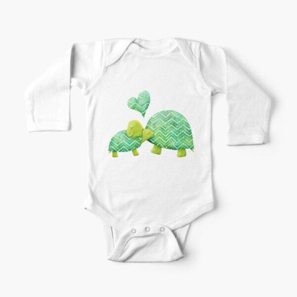 Green Watercolor Turtle Tortoise Baby Boys Girls Long Sleeve Baby Onesie Baby Romper