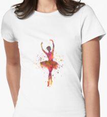Woman ballerina ballet dancer dancing  Women's Fitted T-Shirt