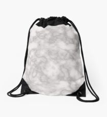 White solid marble Drawstring Bag
