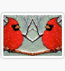 Cardinal Couple, Red Birds in Snow, Winter, Painting, Wildlife Sticker