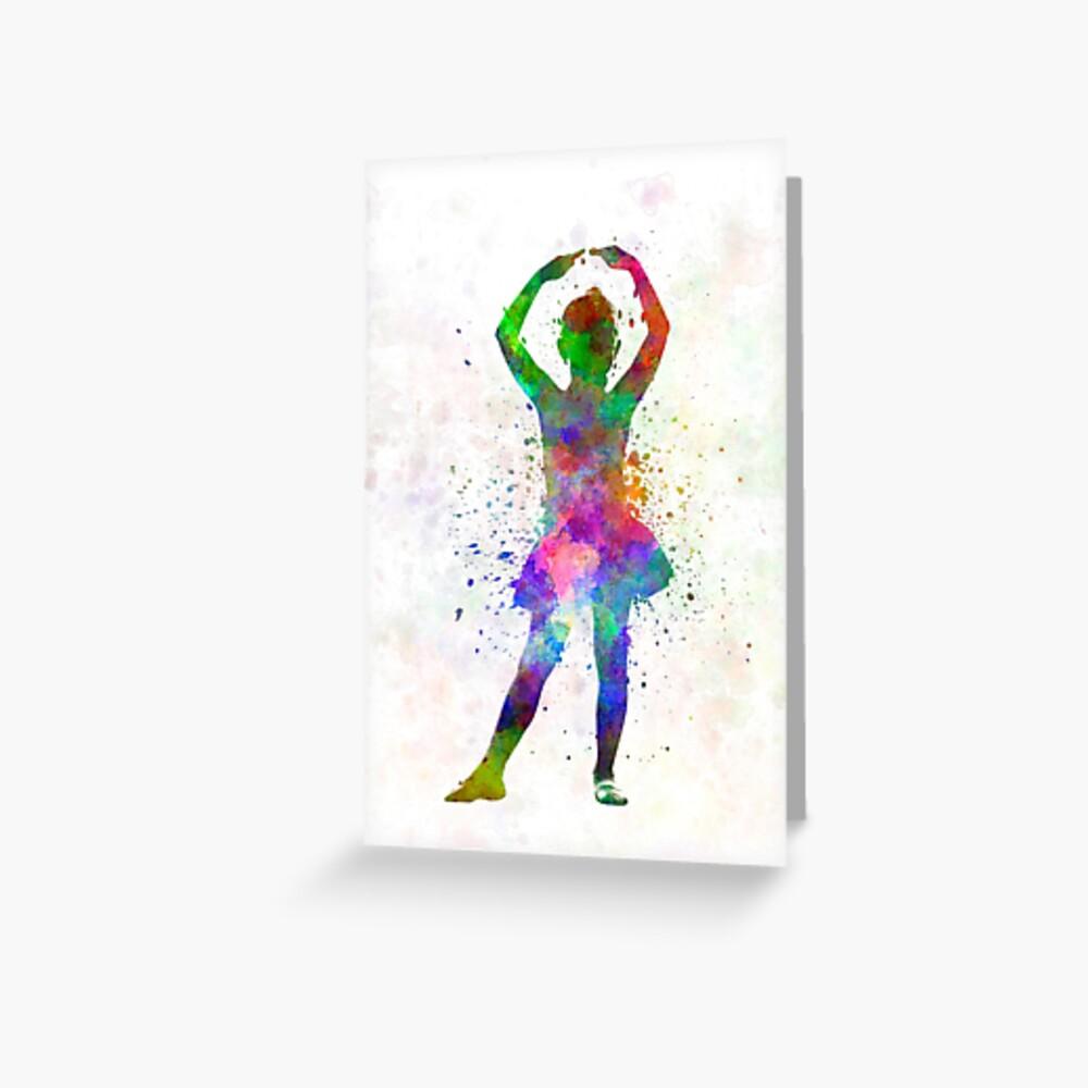 Ballerina-Balletttänzertanzen des kleinen Mädchens Grußkarte