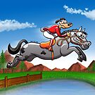 Equestrian Jumping Dog Riding a Horse by Zoo-co