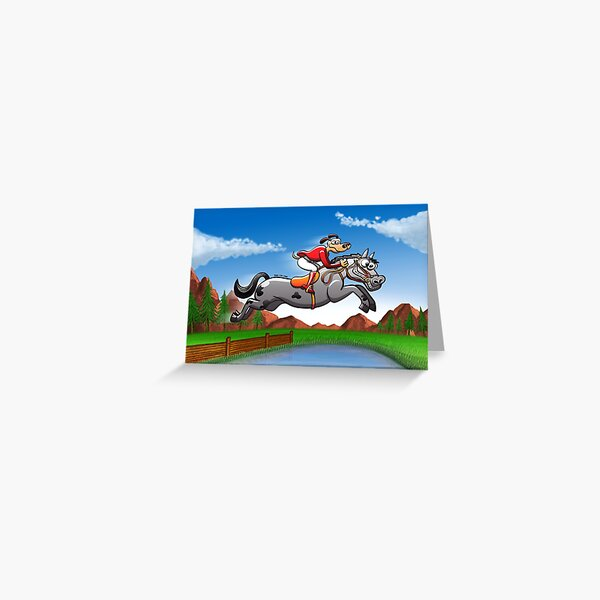 Equestrian Jumping Dog Riding a Horse Greeting Card