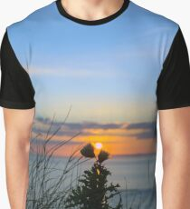 sunset over loop head with silhouetted wild tall thistles Graphic T-Shirt
