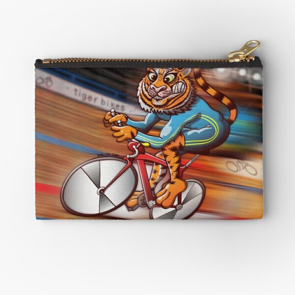 Cycling Tiger Riding a Racing Bicycle Zipper Pouch