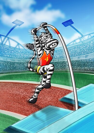 Pole Vault Zebra by Zoo-co