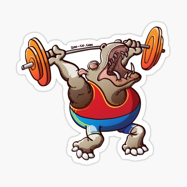 Weightlifting Hippopotamus Sticker