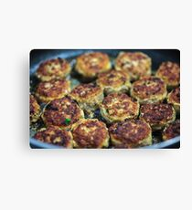 Meatballs cooking Canvas Print