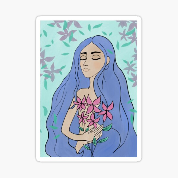 Woman with flowers Sticker