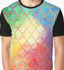 Rainbow Watercolor Moroccan Pattern Graphic T-Shirt
