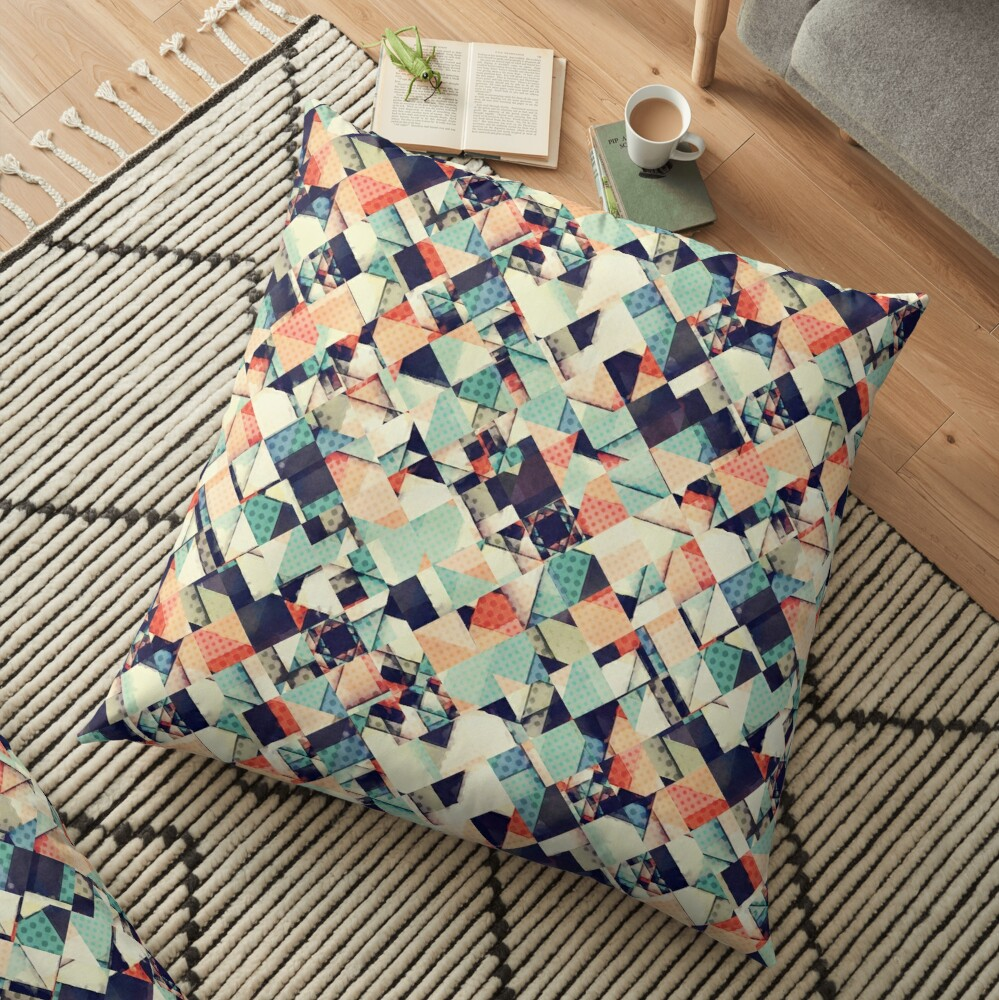 Jumble of Colors And Texture Floor Pillow