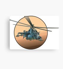 Cartoon Military Helicopter Canvas Print
