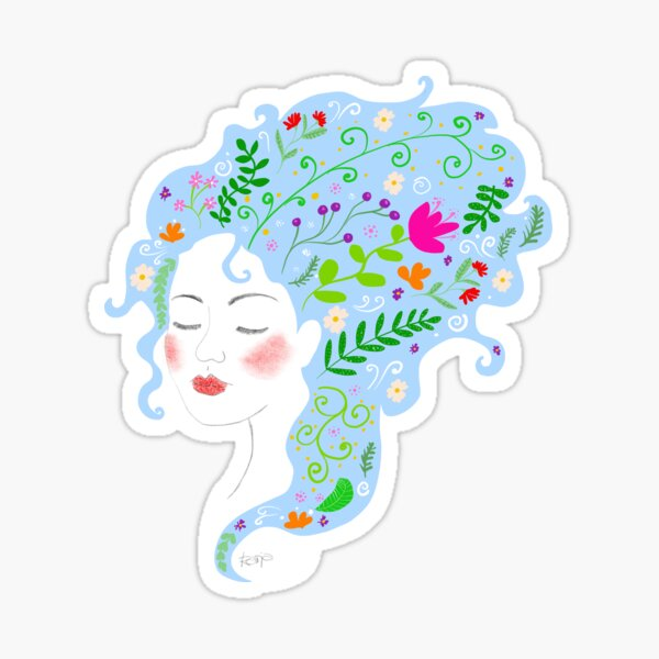 Woman with blue hair. Sticker